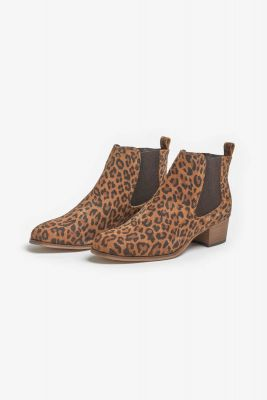 Bottines Chelsea en cuir léopard