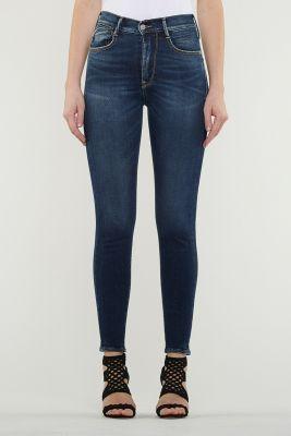 Jeans Power Skinny Taille Haute Bleu Foncé