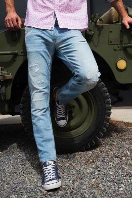 700/11 slim jeans L32 destroy bleu N°5
