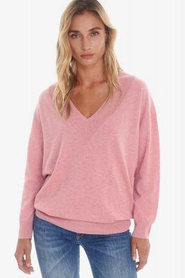 Pull en laine et cachemire Dalida rose