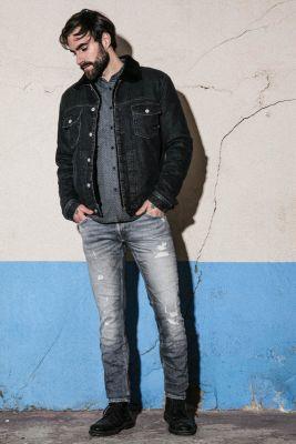 Basic 700/11 slim jeans destroy gris N°3