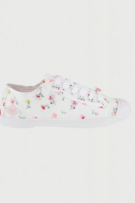 White Basic trainers with floral pattern
