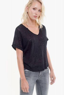 T-shirt Bote noir à étoiles noires