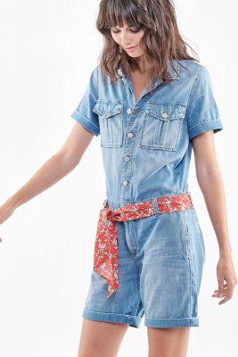 Combi-short en jeans Adams bleue