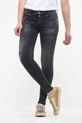 Cuba power skinny 7/8ème jeans destroy noir N°1