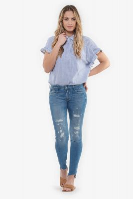 Evora power skinny 7/8ème jeans destroy bleu N°3