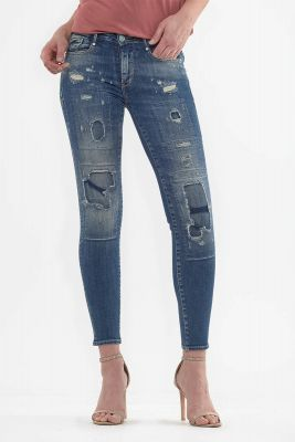 Jeans power skinny 7/8ème Hoya destroy bleu N°2