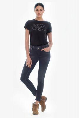 Soso pulp slim taille haute 7/8ème jeans bleu-noir N°1