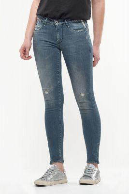 Jeans power skinny 7/8ème Zia destroy bleu-noir N°4
