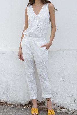 Pantalon droit Yeta blanc