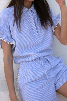Linen Zora Blue Short