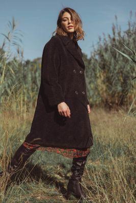 Manteau réversible en laine mélangée Igor noir