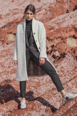 Manteau Pékin écru en laine mélangée