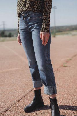 400/18 mom regular taille haute jeans bleu N°2