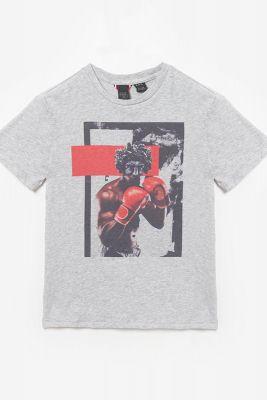 T-shirt Mauibo gris imprimé