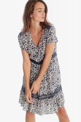 Blue-grey floral pattern Bloomy dress
