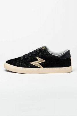 Black Soho sneakers with gold lightning flash