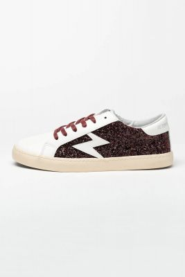 White Soho sneakers with burgundy sequins