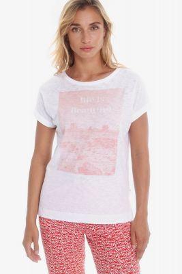T-shirt Thamis blanc imprimé