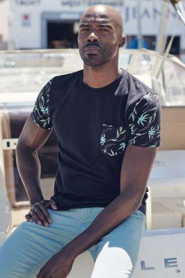 T-shirt Bazin bleu foncé