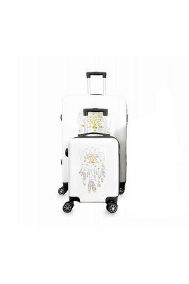 Set de 2 valises Plume Ana Rêve blanches extensibles
