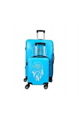 Set de 2 valises Plume Ana Rêve bleues extensibles