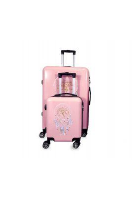 Set de 2 valises Plume Ana Rêve roses extensibles