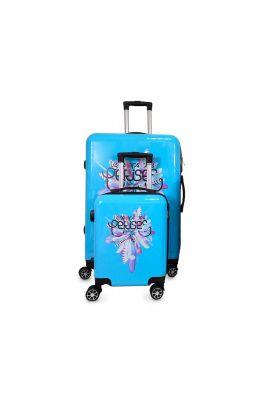 Set de 2 valises Saya Plume bleues extensibles