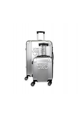 Set de 2 valises Eyden argentées extensibles