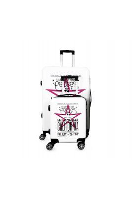 Set de 2 valises Sia blanches extensibles