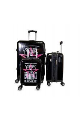 Set de 3 valises Sia noires extensibles
