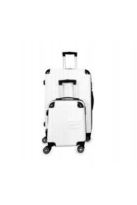 Set de 2 valises Victoria blanches extensibles