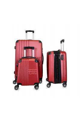 Set de 3 valises Victoria rouges extensibles