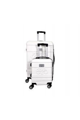 Set de 2 valises Lyra blanches extensibles