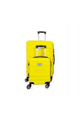 Set de 2 valises Lyra jaunes extensibles