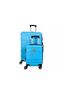 Set de 2 valises Lyra bleues extensibles