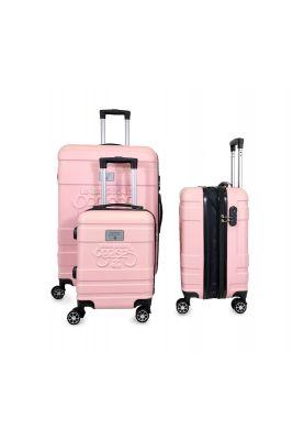 Set de 3 valises Lyra roses extensibles