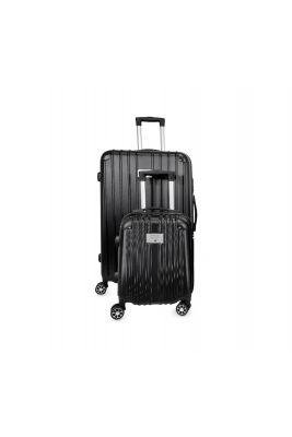 Set de 2 valises Nela noires extensibles