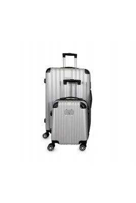 Set de 2 valises Nela argentées extensibles