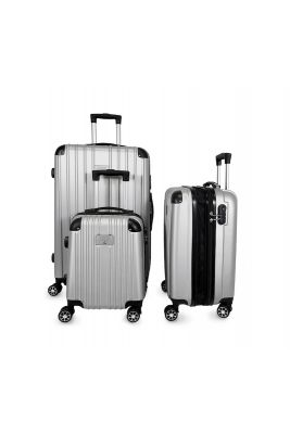 Set de 3 valises Nela argentées extensibles