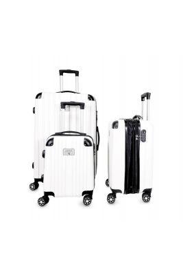 Set de 3 valises Nela blanches extensibles