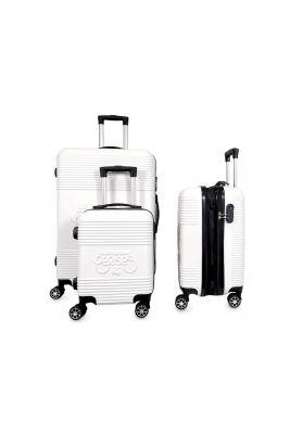 Set de 3 valises Maysa blanches extensibles