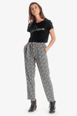 Pantalon Farrow noir à motif floral