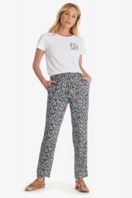 Pantalon Selena amande à motif floral