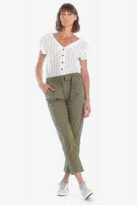 Khaki Serena high waisted chino trousers