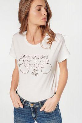 Cream rhinestone Diamond t-shirt