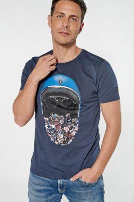 T-shirt Lewan bleu marine imprimé