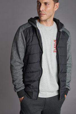 Dual material black and grey Mestre hoodie