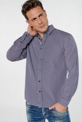 Chemise Pisto bleue marine à motif graphique