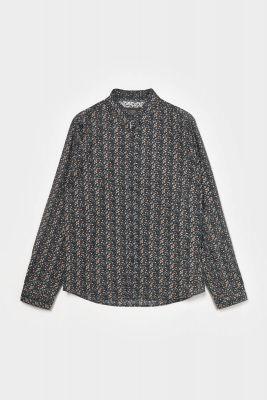 Chemise Selba noire à motif fleuri
